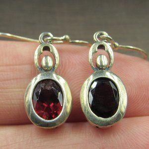 Sterling Silver Worn Oval Red Garnet Gem Earrings